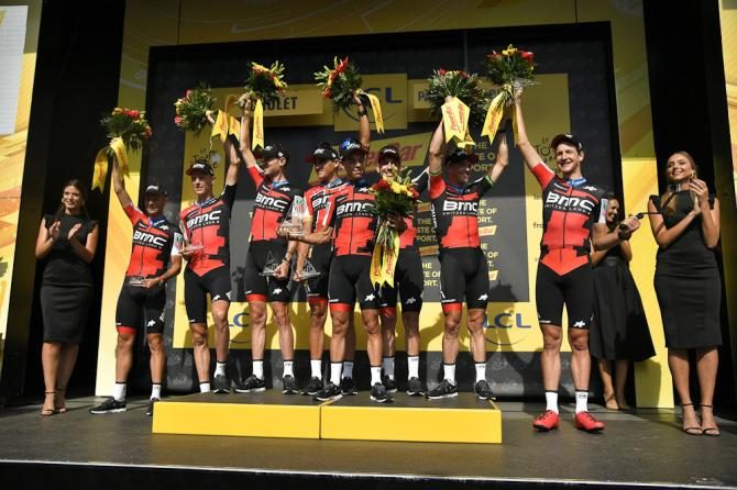 BMC Racing on the podium after winning the team time trial at the Tour de France