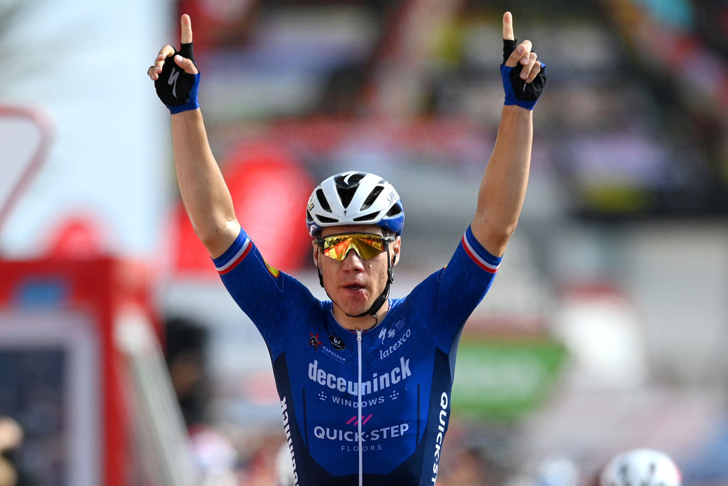 LA MANGA SPAIN AUGUST 21 Fabio Jakobsen of Netherlands and Team Deceuninck QuickStep celebrates winning during the 76th Tour of Spain 2021 Stage 8 a 1737 km stage from Santa Pola to La Manga del Mar Menor lavuelta LaVuelta21 on August 21 2021 in La Manga Spain Photo by Stuart FranklinGetty Images