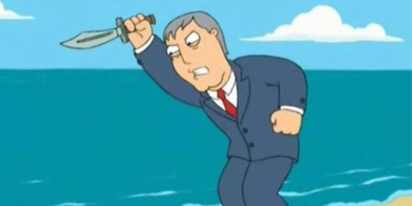 Adam West Family Guy Stabbing the Ocean