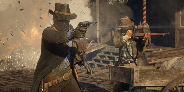 Cowboys open fire in Red Dead Redemption 2.