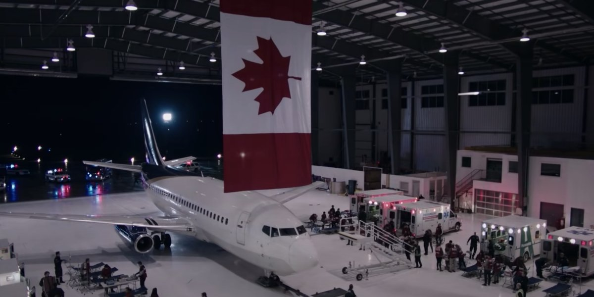 A Canadian airport hangar from The Handmaid's Tale