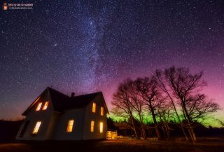 Aurora Over Maine Farmhouse by Taylor