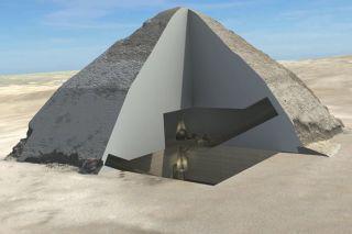 3d cutaway revealing interior of Brent Pyramid