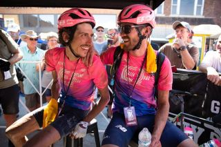 EF Education First riders Lachlan Morton and Alex Howes celebrate their rides at the 2019 Dirty Kanza