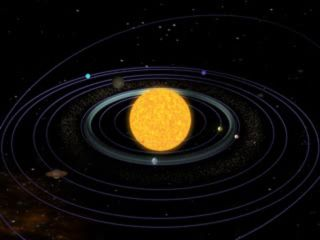 An artist's depiction of the solar system as it appears today.
