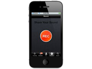 The record button in SoundCloud's iOS app is pretty obvious.