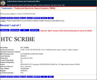 The HTC Scribe trademark application filing