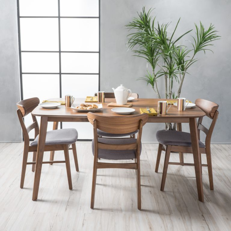 Mid-century modern style dining set with four chairs from Walmart