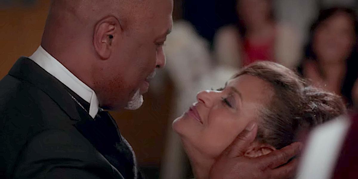 Grey's Anatomy Richard Webber goes to kiss Catherine Fox at their wedding.