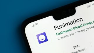 Funimation in store on smartphone available to download