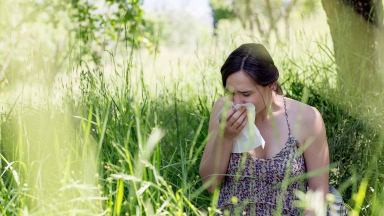 Woman suffering from hayfever