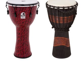 Freestyle II Mechanical Tuned Djembe (left); Street Series Djembe (right)