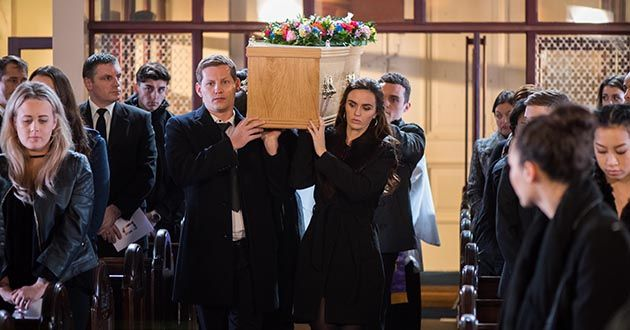 Celine McQueen's funeral, Hollyoaks