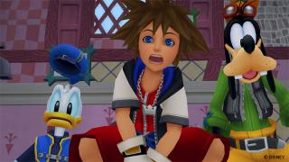 Kingdom Hearts screenshot of Sora, Donald and Goofy looking surprised in Wonderland