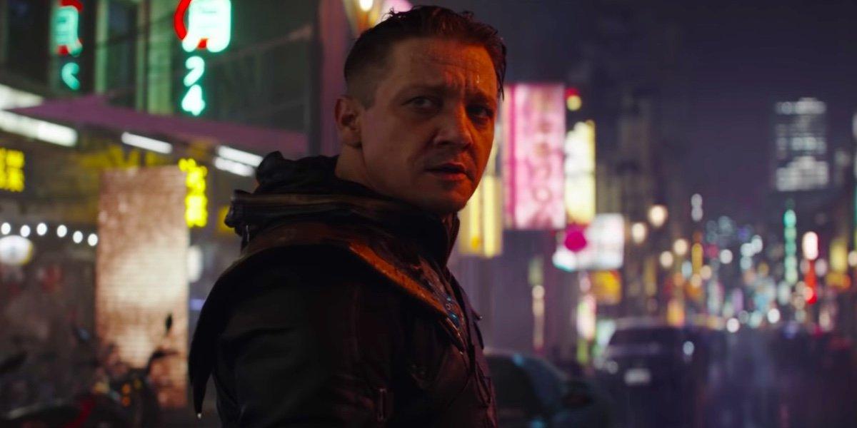 Jeremy Renner as Hawkeye looking back at Scarlett Johansson's Black Widow in Avengers: Endgame