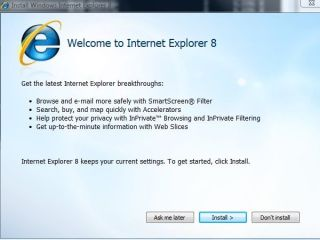 Upgrade from IE7 or IE8 option