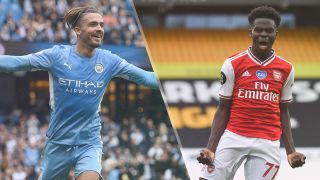 Manchester City vs Arsenal live stream — Jack Grealish of Manchester City and Bukayo Saka of Arsenal