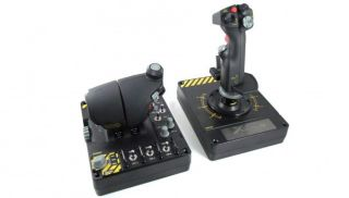 Saitek's X-55 Rhino flightstick is a lovely, chunky thing