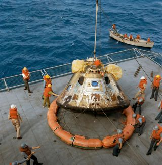 The Apollo 11 command module, seen here as the astronauts returned from the moon, is one of the artifacts highlighted in a new Smithsonian Channel series.