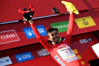 Odd Christian Eiking (Intermarche-Wanty-Gobert Matriaux) in the red leader's jersey at the Vuelta a Espana