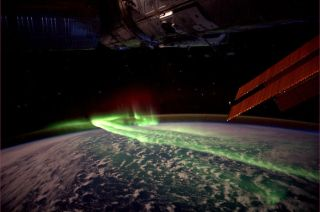 A photo taken on the ISS captures an aurora over the southern hemisphere during an earlier solar storm.