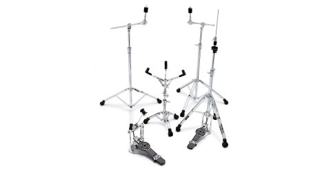 Mini boom cymbal stands feature retractable, knurled boom arms which can be set straight or as boom arms