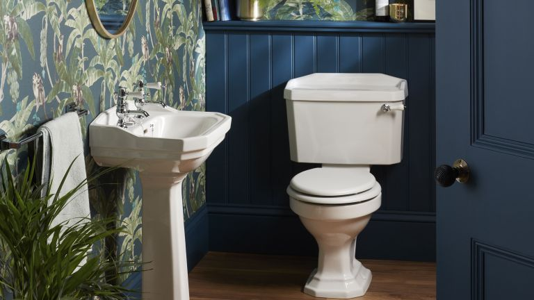 Navy blue cloakroom with white basin and toilet by Heritage bathrooms