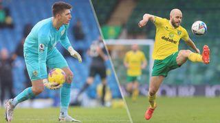 Nick Pope of Burnley and Teemu Pukki of Norwich City