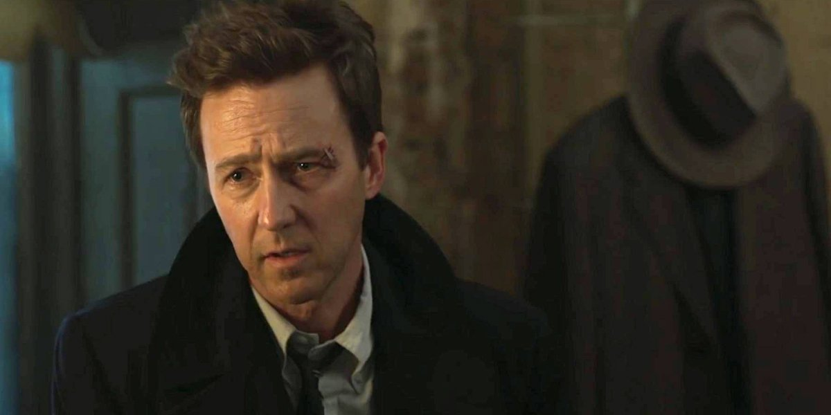 Motherless Brooklyn Edward Norton pulling a concerned face