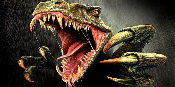 A raptor attacks in Turok promotional art.