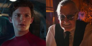 Tom Holland as Peter Parker/Spider-Man and Stan Lee as a bartender