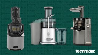 The Kuvings Evo 820, Breville the Juice Fountain Cold and the Nama Vitality 5800 on a green background