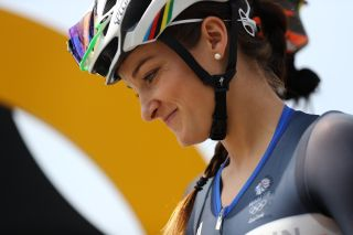 during the Women's Road Race on Day 2 of the Rio 2016 Olympic Games at Fort Copacabana on August 7, 2016 in Rio de Janeiro, Brazil.