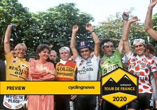 The 1983 Tour de France podium: Laurent Fignon in yellow, Sean Kelly in green