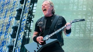 Metallica's James Hetfield performs onstage at Twickenham Stadium on June 20, 2019 in London, England