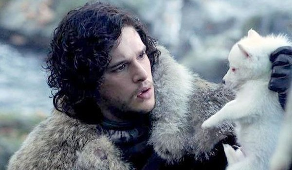 Kit Harrington as Jon Snow with his puppy dire wolf Ghost on HB's