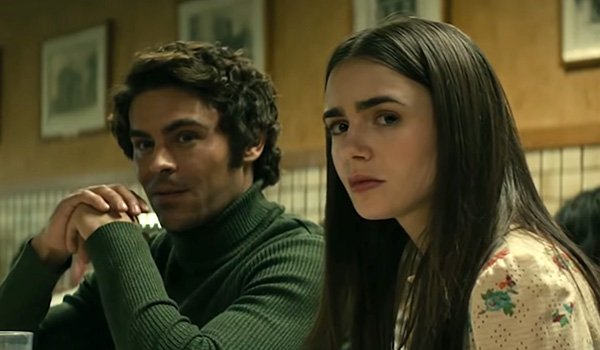Zac Efron as Ted Bundy and Lily Collins as Elizabeth Kloepfer in Netflix's Extremely Wicked, Shockin