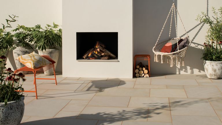 Best patio cleaner showing Bradstone Smooth Natural Sandstone Paving in Dune