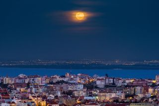 Blue Moon from Amoreiras Towers, Lisbon