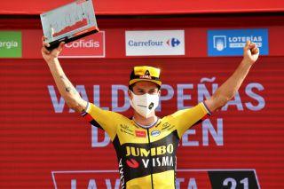 Primoz Roglic (Jumbo-Visma) celebrates on the podium after winning stage 11 of the 2021 Vuelta a España