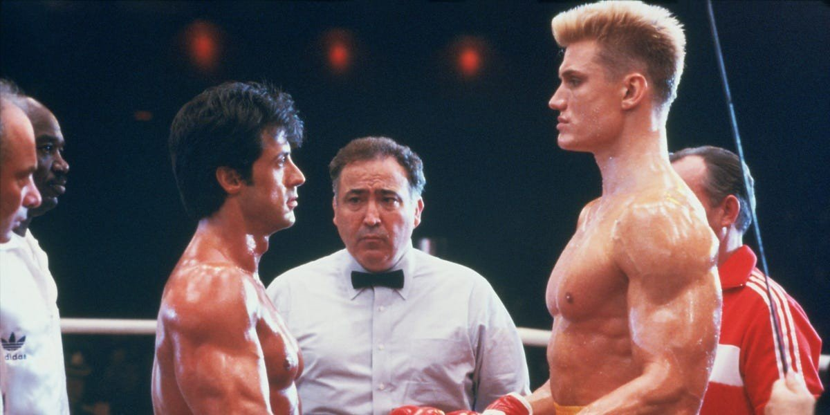 Sylvester Stallone as Rocky Balboa and Dolph Lundgren as Ivan Drago in Rocky IV (1985)