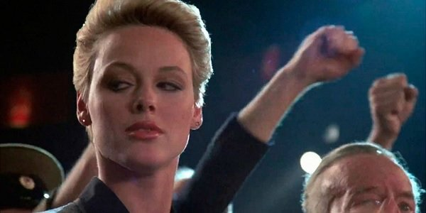 Rocky IV Brigitte Nielsen smiles slyly during the match