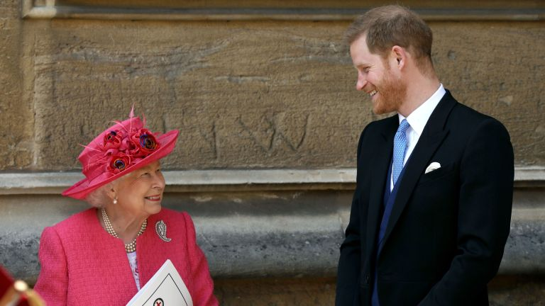 The Queen and Prince Harry attend the wedding of Lady Gabrielle Windsor