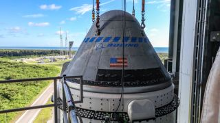 Boeing's Starliner Capsule Atop A United Launch Alliance Rocket At Kennedy Space Center