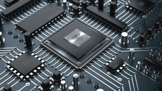 Image of a CPU on a motherboard.