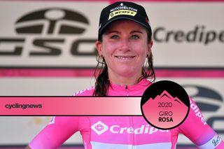 Annemiek Van Vleuten in the Giro Rosa leader's jersey