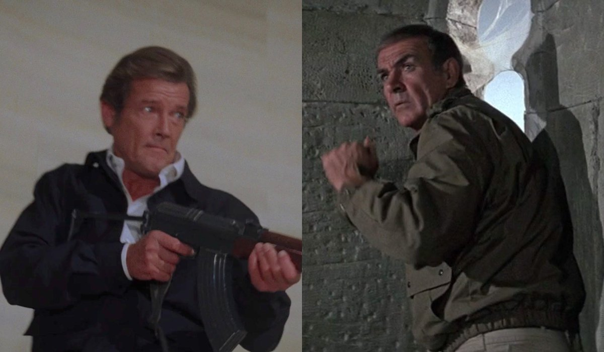 Roger Moore wields a machine gun in Octopussy, while Sean Connery prepares to jump out of a tower in Never Say Never Again.