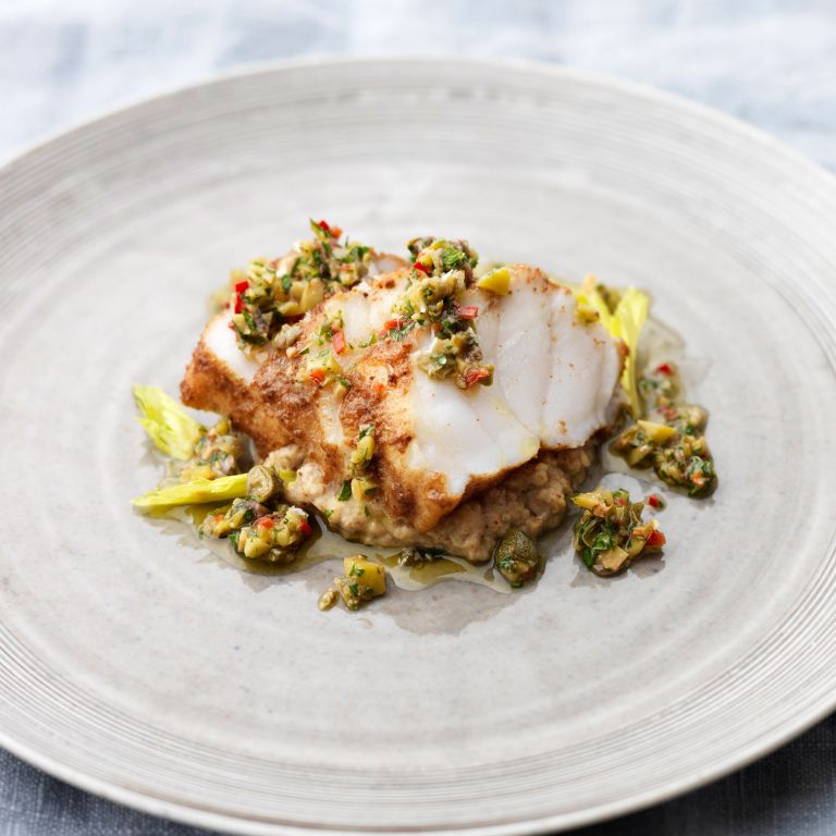 roasted monkfish with cumin and baked aubergine puree photo