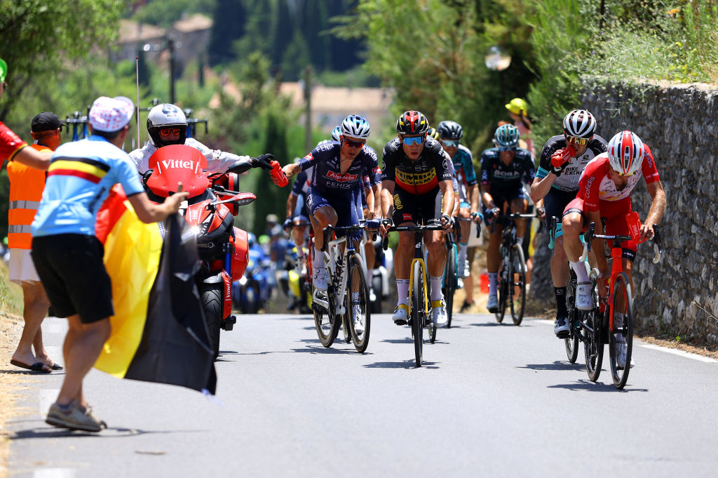 MALAUCENE FRANCE JULY 07 Xandro Meurisse of Belgium and Team AlpecinFenix Wout Van Aert of Belgium and Team JumboVisma Luke Durbridge of Australia and Team BikeExchange PierreLuc Prichon of France and Team Cofidis in the chase group during the 108th Tour de France 2021 Stage 11 a 1989km km stage from Sorgues to Malaucne Public Fans LeTour TDF2021 on July 07 2021 in Malaucene France Photo by Tim de WaeleGetty Images