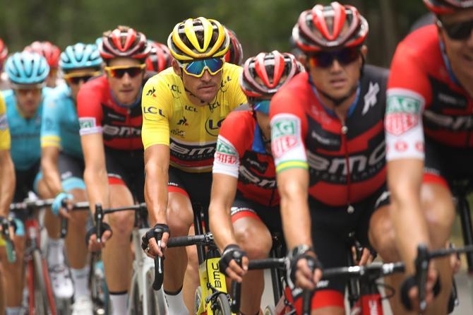 Yellow jersey Greg Van Avermaet and his BMC teammates